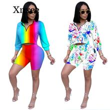 2020 Autumn Two Piece Set Summer Tracksuit Women Crop Top and Shorts Set Casual Sportwear 2 Piece Outfits for Women Sweat Suits streetwear two piece set women s costumes contrast color hooded crop top and skinny shorts female suits autumn sweatsuits zogaa