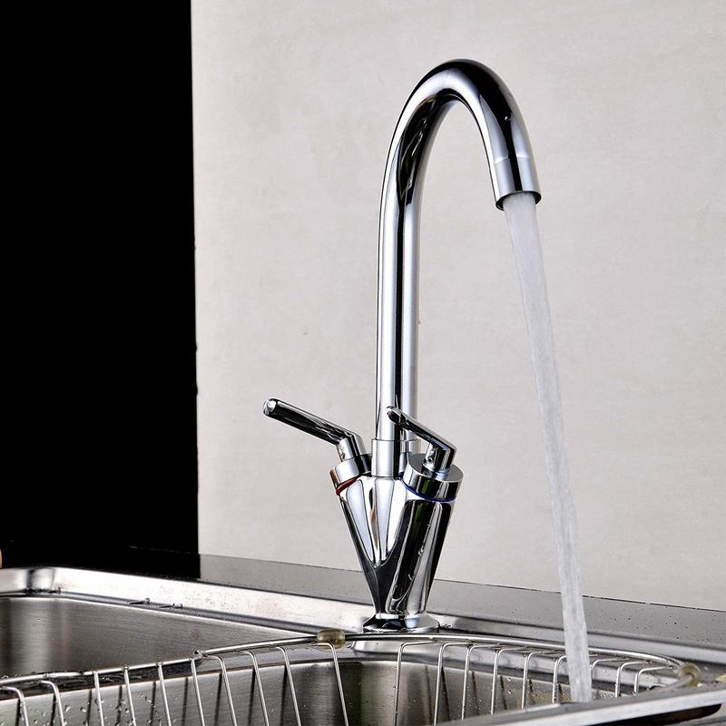 Yooap Two Handle Integrated Kitchen 360 Degree Rotating Faucet Chrome Rotating Faucet Two Handle Single Hole Faucet Hot And Cold