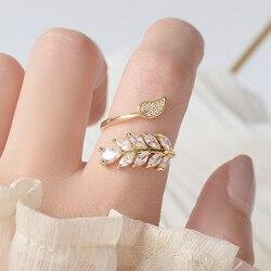 Mode coréenne 14K véritable or complet CZ laisser anneau pour les femmes réglable design ouvert AAA Zircon délicat quotidien bijoux pendentif