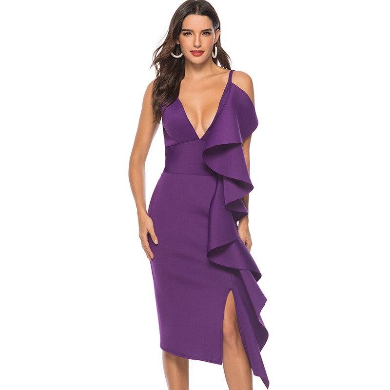 Nouvelle Sexy profonde V Spaghetti sangle robe femmes volants parti Club robes de grande taille S-XXL violet mariage demoiselle d'honneur bal mince robe