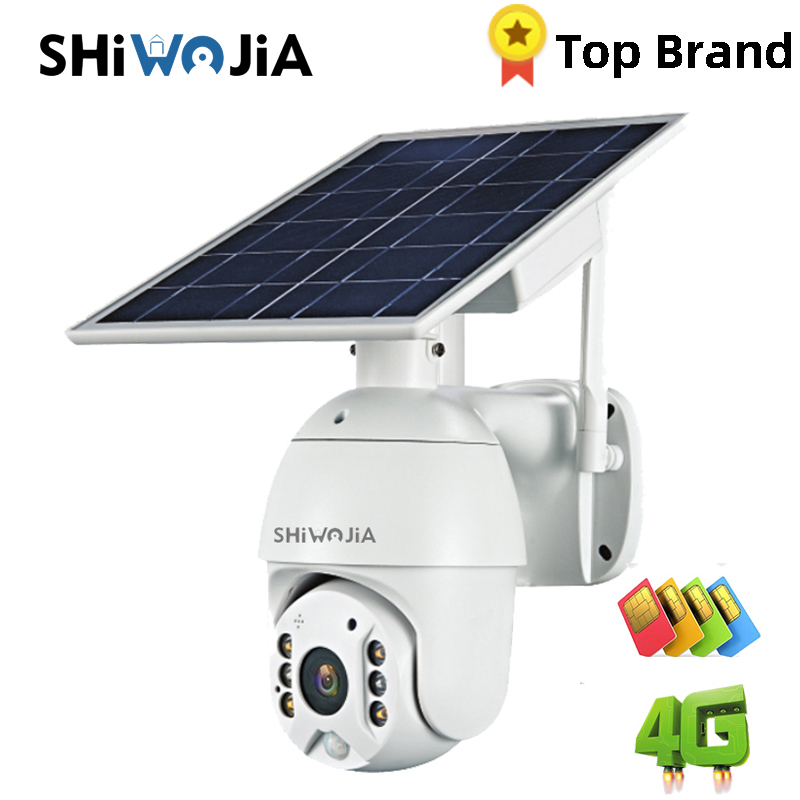 SHIWOJIA Camera 4G SIM Card 1080P HD Solar Panel Outdoor Monitoring CCTV Camera Smart Home Two-way Intrusion Alarm Long Standby