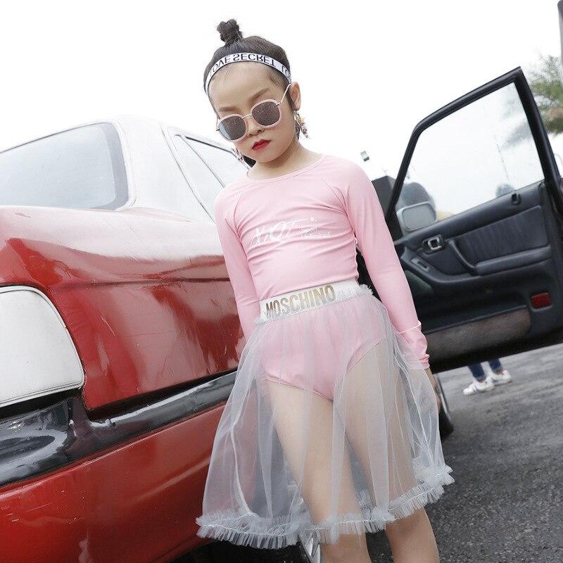 Korean-style KID'S Swimwear Exquisite Princess Lace Girls Children Long Sleeve One-piece Tutu Baby Swimwear Mesh Dress