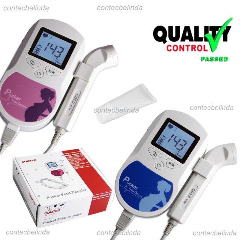 FDA aprovou doppler cardíaco fetal/LCD Backlight 3mhz + gel EUA Vendedor 2 Anos Garantia de Azul e Rosa