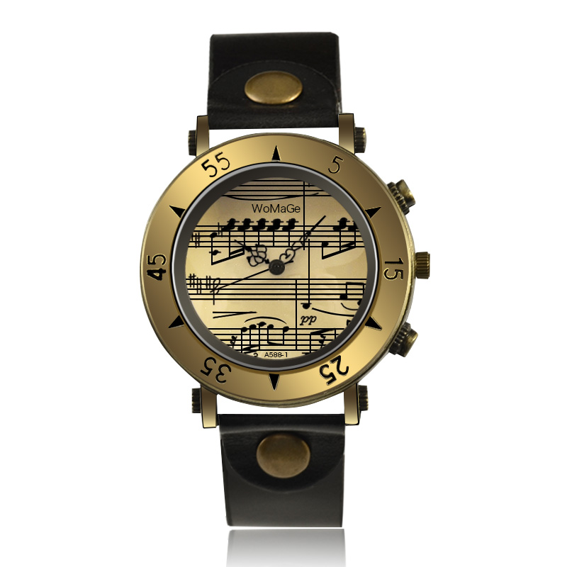 WoMaGe Sheet Music Fashion Women Watches Leather Band Casual Ladies Wrist Watches Relogio Feminino Women's Watch Zegarek Damski