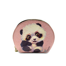 B02083 personalizado Animal Panda impreso moneda bolsa de cuero genuino mujeres cartera monederos colorido Graffiti moneda bolsa con llavero(China)