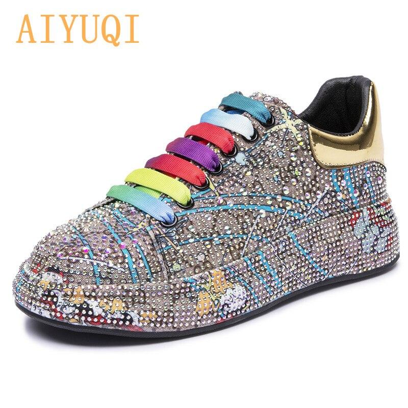 AIYUQI/женские кроссовки; Большие размеры; Новинка 2021 года; Цвет стразы; Модные женские лоферы на платформе; Модная блестящая женская обувь