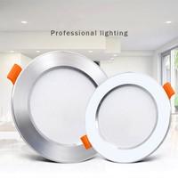 Ultra delgado de aluminio proyector descendiente de Led empotrado blanco de plata-de plata 3W 5W 7W 9W AC220V Led lámpara de punto para techo de iluminación Led