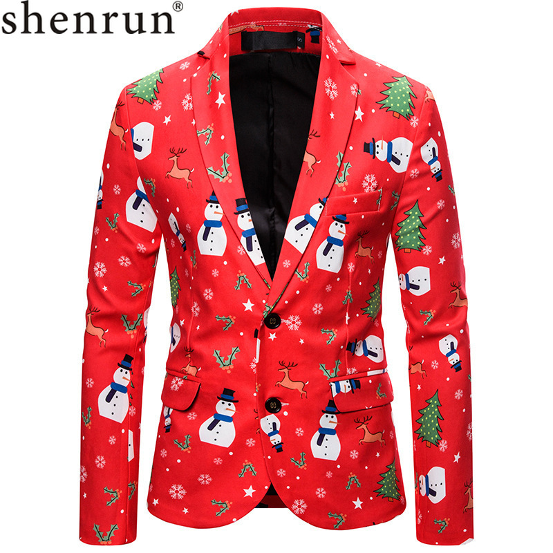 Shenrun Men Christmas New Year Blazers Santa Jackets Red Fashion Slim Fit Suit Jacket Party Prom Christmas Print Stage Costumes