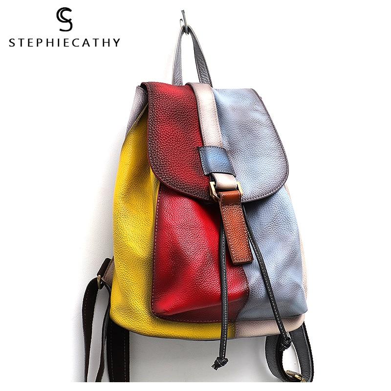 Image 5 - SC Vinatge Genuine Leather Backpack Women Random Color Leather Patchwork Shoulder Bag Girls Large Flap School Bag Femal knapsack-in Backpacks from Luggage & Bags