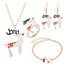 Fashion Christmas Gold Jewelry Set Cute Animal Deer Necklace/Bracelet/Earring/Ring Jewelry Sets Gift for Christmas Day fashion christmas gold christmas tree jewelry set necklace bracelet earring ring jewelry sets gift for christmas day dropshiping