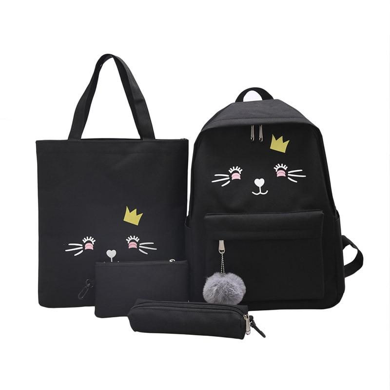 Petits sacs à dos sac à bandoulière-sac adolescente-filles femme noir Mochila femmes pour-Yl 4 pièces/ensemble