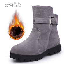 Plus Size 43-44 Fashion Suede Leather Ankle Boots Woman Buckle Strap Non Slip Snow Boots Women Rubber Solid Winter Shoes Woman цена 2017
