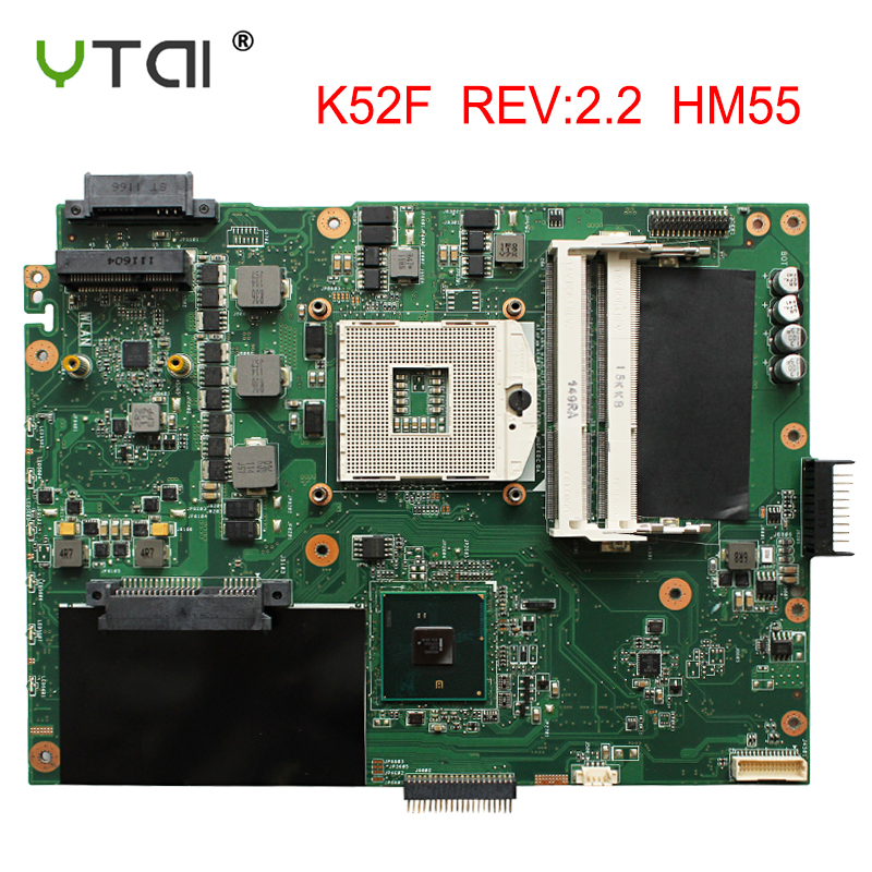 K52F Motherboard HM55 REV2.2 For ASUS K52F A52F X52f Laptop Motherboard K52F Mainboard Free Shipping, 100% Tested Intact
