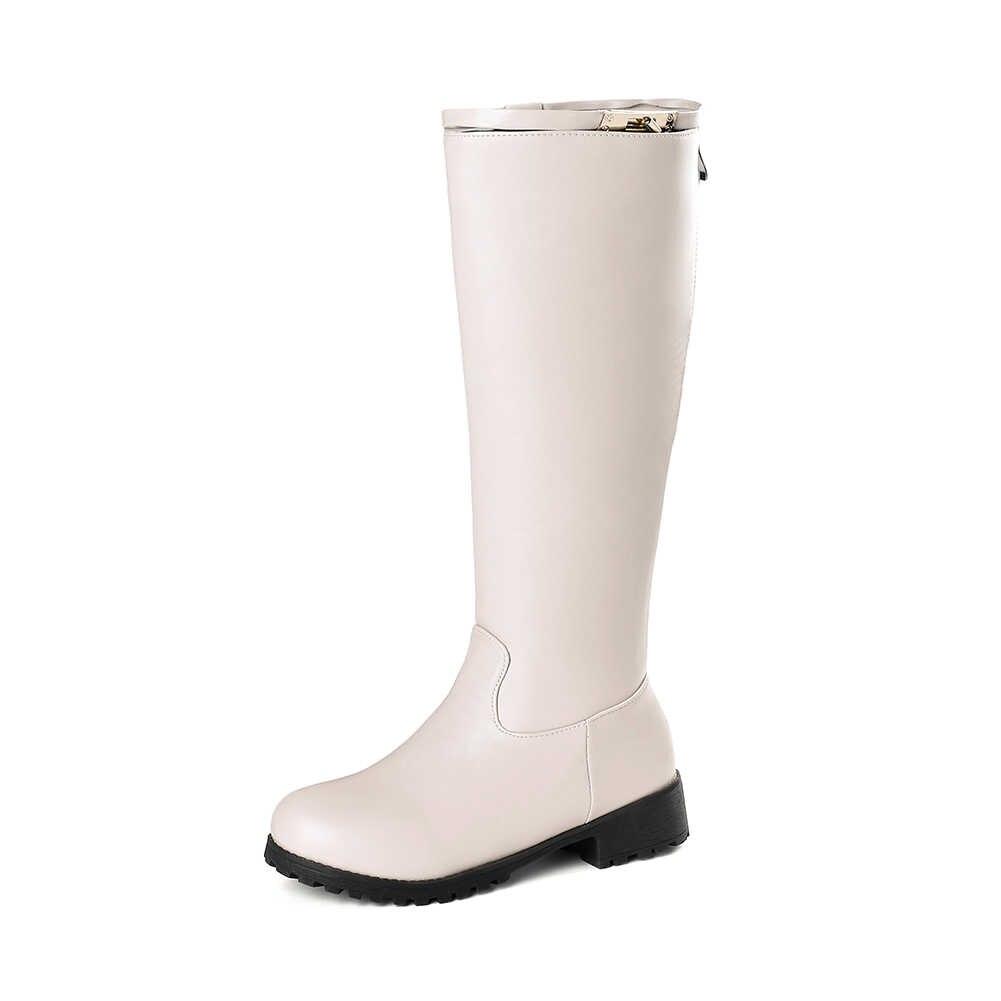 BONJOMARISA Yeni Artı Boyutu 34-48 Zarif Kış Eklemek Kürk orta buzağı Çizmeler Kadın 2019 Sıcak Kürk Platformu çizmeler Düşük Topuk Ayakkabı Kadın