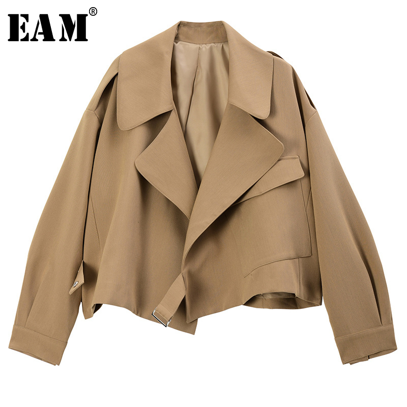 [EAM] Loose Fit Camel Brief Split Joint Big Size Short Jacket New Lapel Long Sleeve Women Coat Fashion Tide Spring 2020 1S198
