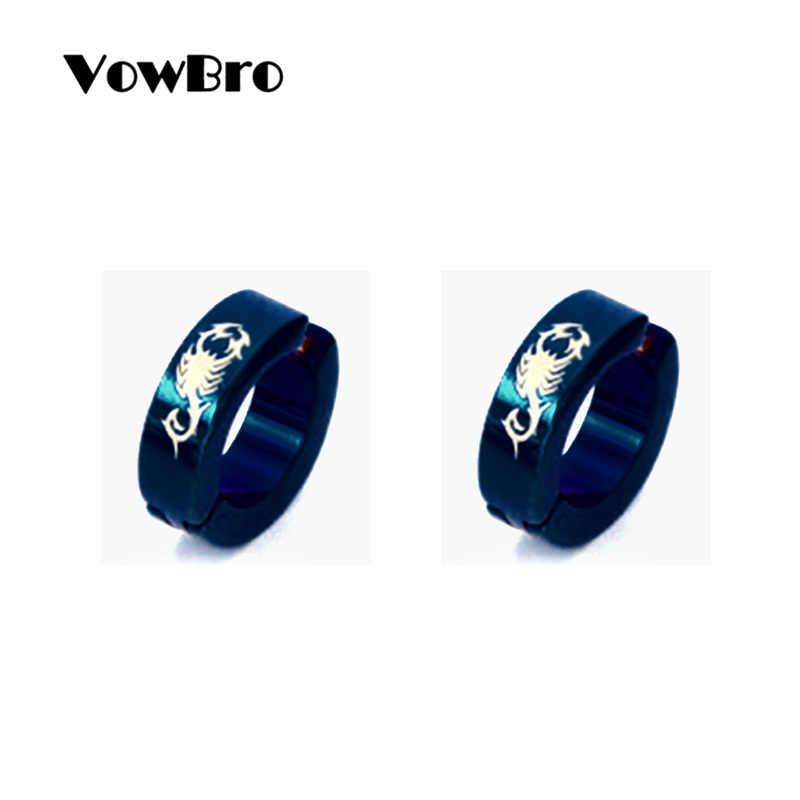 VowBro 1 çift anti-alerjik titanium çelik küpe punk rock Klip Küpe Erkekler moda takı kadın küçük daire yuvarlak küpe