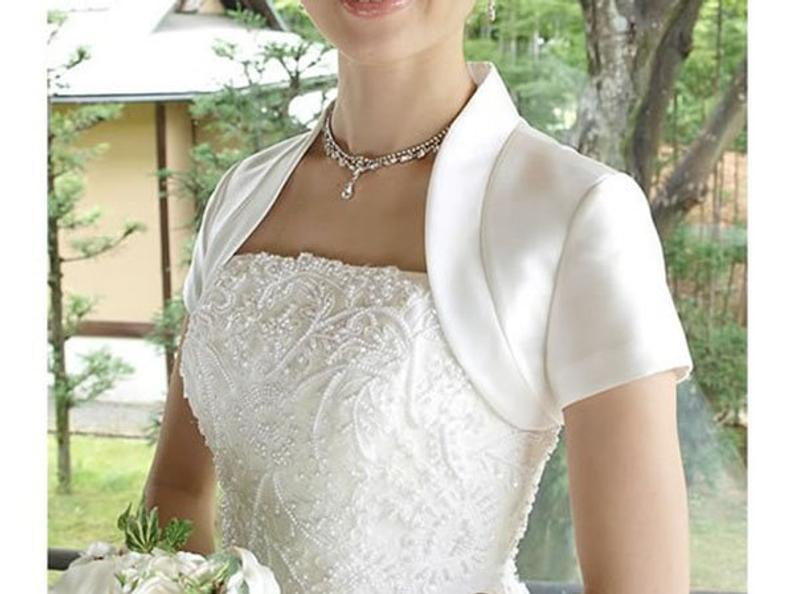 2020 Satin Wedding Jacket Short Sleeves Custom Made Color/Size Bridal Bolero with Collar Feminino Bride Cape Femme Mariage Shrug