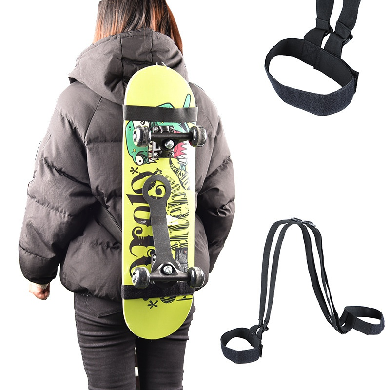 Adjustable Skateboard Backpack Strap Black Shoulder Carrier Durable Snowboard Longboard Skateboard Backpack Carrier ZX00