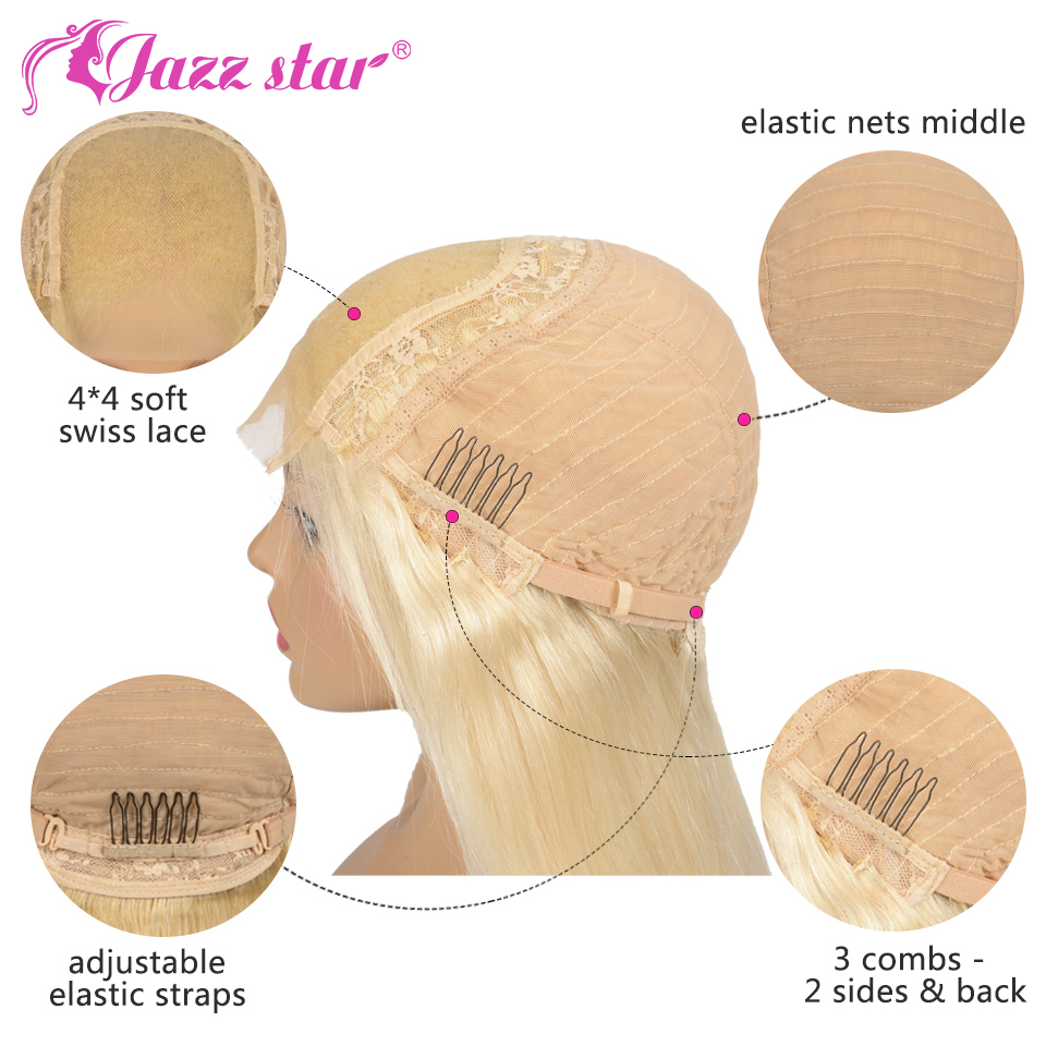 Hef9da898c63e4d6aaee1eae6860a5537M Brazilian Wig 4x4 Lace Closure Wig 613 Blonde Wig Body Wave Human Hair Wigs for Black Women 150% Density Jazz Star Hair Non-Remy