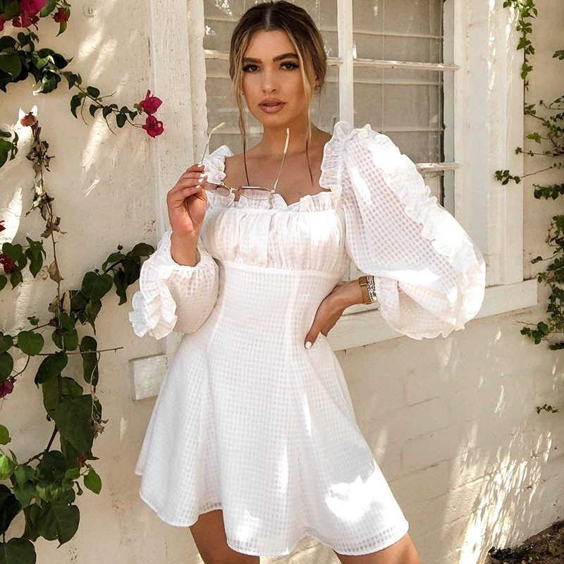 NLW blanc hiver femmes robe 2019 à volants bouffée à manches longues automne robe Vintage épaules nues fête robe courte mode Vestidos
