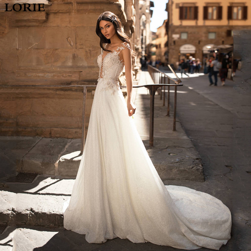 LORIE Boho Sequins Wedding Dress A Line Beaded Lace Bride Gowns Buttons Back Vestido De Novia Boho Wedding Bride Dresses