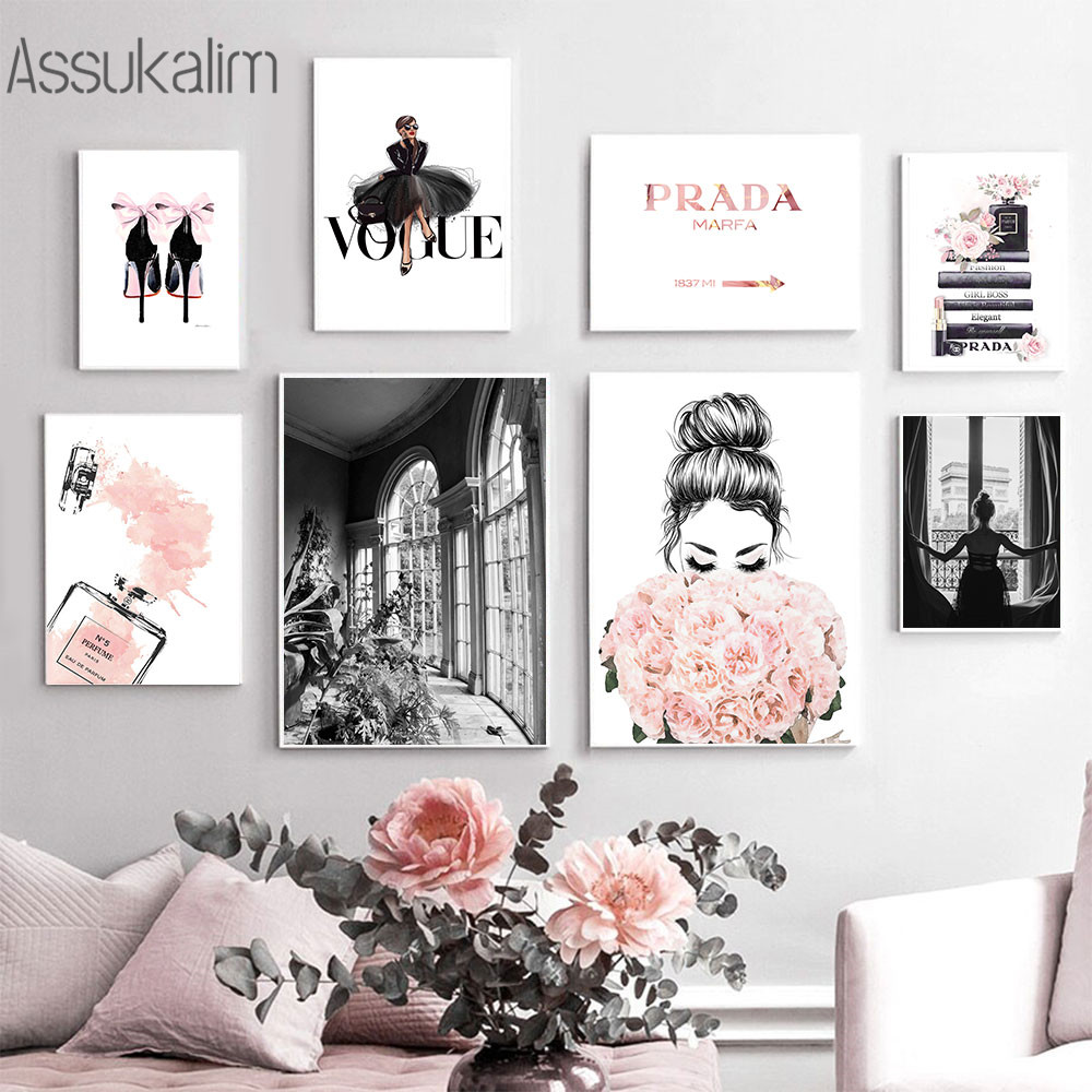 Fashion Girl Wall Painting Perfume Bottle Poster Nordic Canvas Print Flower Prints Vogue Wall Pictures For Living Room Decor