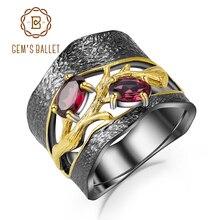 GEMS balet 925 srebro oryginalne ręcznie bransoletki pierścionki naturalne Rhodolite Garnet Gemstones pierścień dla kobiet biżuterii