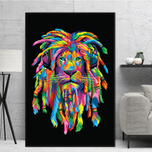 Colorful Animals Canvas Painting Pop Lions Wall Art Quadro Posters Prints Fashion Decor for Living Room