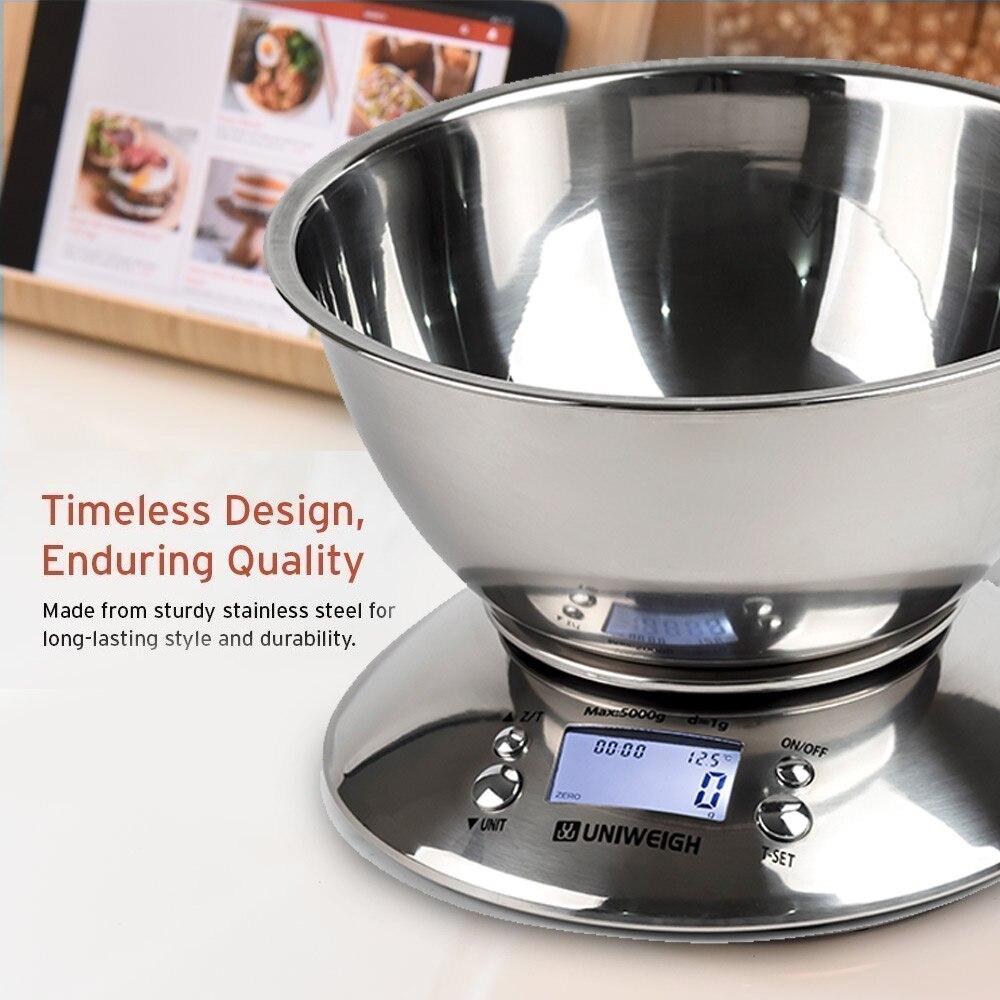 מטבח דיגיטלי גבוהה דיוק 11lb/5kg מזון בקנה מידה עם נשלף קערת טמפרטורת חדר, מעורר טיימר נירוסטה מאזניים