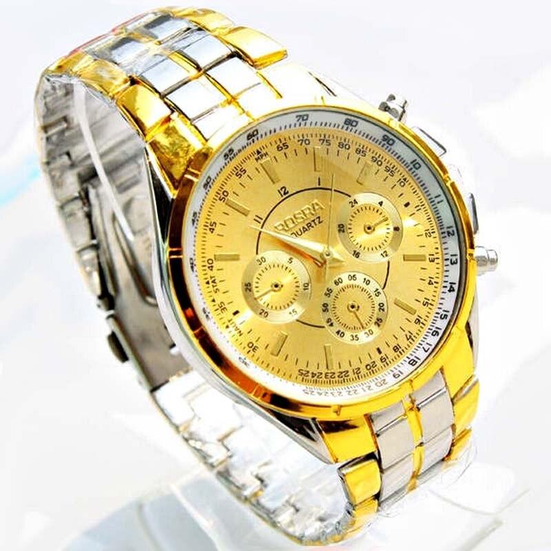 Fashion Brand Rosra Watch Men Gold Watches Silver Stainless Steel quartz Business mannen horloge