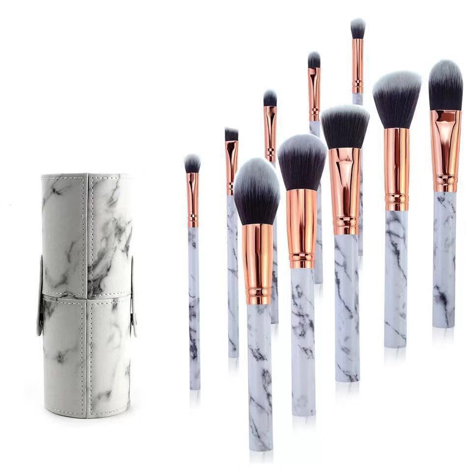 10 pçs pincel de maquiagem profissional conjunto ferramentas pó fundação sombra labial eyeliner blush mármore rosto pincéis de maquiagem