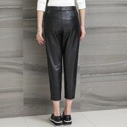 Echt Schaffell Schwarz Hosen Frauen Plus Größe Hosen Streetwear Echtem Leder Hosen Damen Casual Pantalon Femme LWL1607