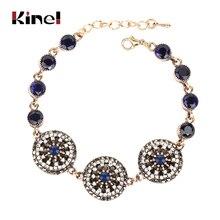 Kinel Charm India Bracelets & Bangle For Woman Fashion Antique Gold Female Handmade Hollow Vintage Jewelry Crystal Bracelet