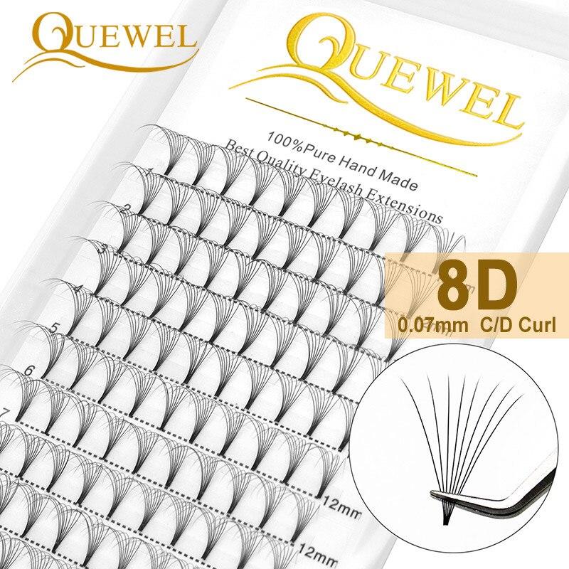 Quewel 8D готовые объемные ресницы, индивидуальное наращивание ресниц для российских фанатов, 0,07 мм Искусственные ресницы C/D Curl ручной работы