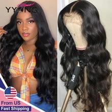 YYong-peluca con cierre de encaje 4x4 y pelucas de cabello humano Remy Frontal de encaje 13x4, cuerpo malayo, Onda de encaje Frontal, línea de cabello Natural 130%
