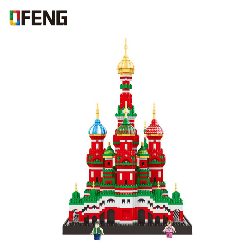 Mini Diamond Blocks World Famous Architecture Model Building Toy Saint Basil's Cathedral for Children Gifts Compatible 16066
