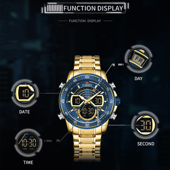 NAVIFORCE Mens Military Sports Waterproof Watches Luxury Analog Quartz Digital Wrist Watch for Men Bright Backlight Gold Watches 3