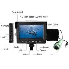1000TVL 4.3in ЖК-монитор рыболокатор подводный светодиодный камера ночного видения 165 ° Широкий угол 15 м кабель для морской рыбалки