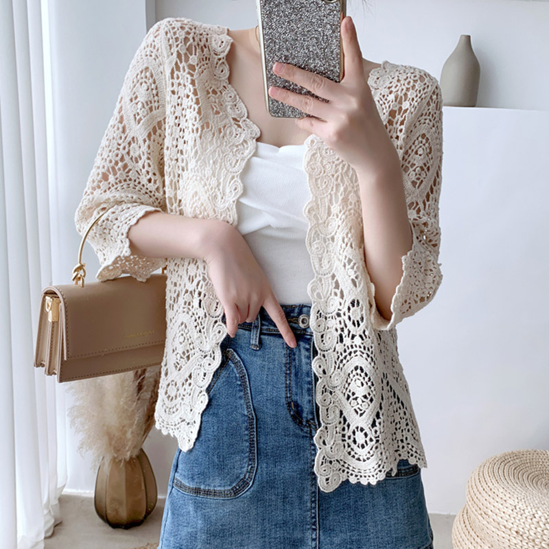 Korean Slim Vintage Sexy Hollow Out <font><b>Follower</b></font> Knitted Lace Blouse Women Cardigan Beige White Lace Shirt Ladies Crop <font><b>Tops</b></font> 2020 image
