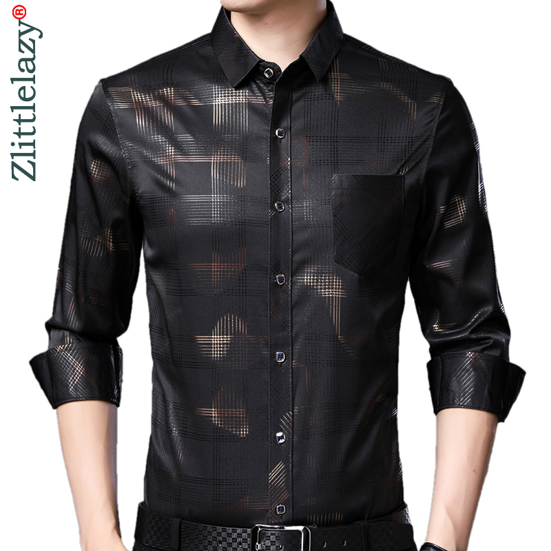 2019 Brand Casual Pocket Plaid Long Sleeve Slim Fit Men Shirt Streetwear Social Dress Autumn Shirts Mens Fashions Jersey 92304