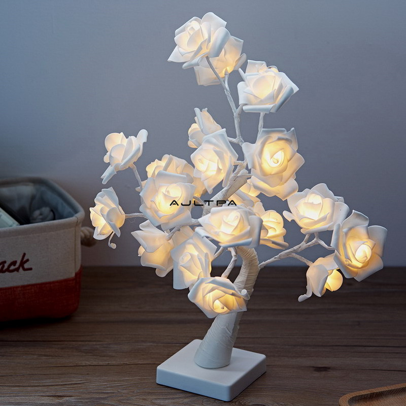 24LEDs 45CM Table Lamp Pink White Rose Girls Bedroom Lamp USB/Battery Operated For Party Wedding Home Decoration