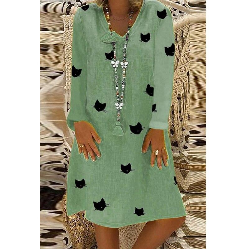 2019 Cartoon Cat Print Cotton Dresses women Autumn Casual Loose Long Sleeve V neck Midi Dress Fashion Plus Size 5XL in Dresses from Women 39 s Clothing