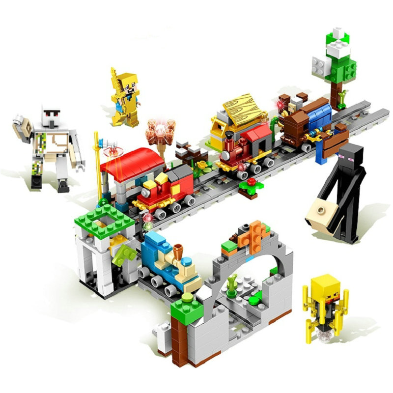 The Minecart Mine Train Set Building Blocks With Action Figures Compatible Lepining MinecraftINGlys Sets Toys For Children