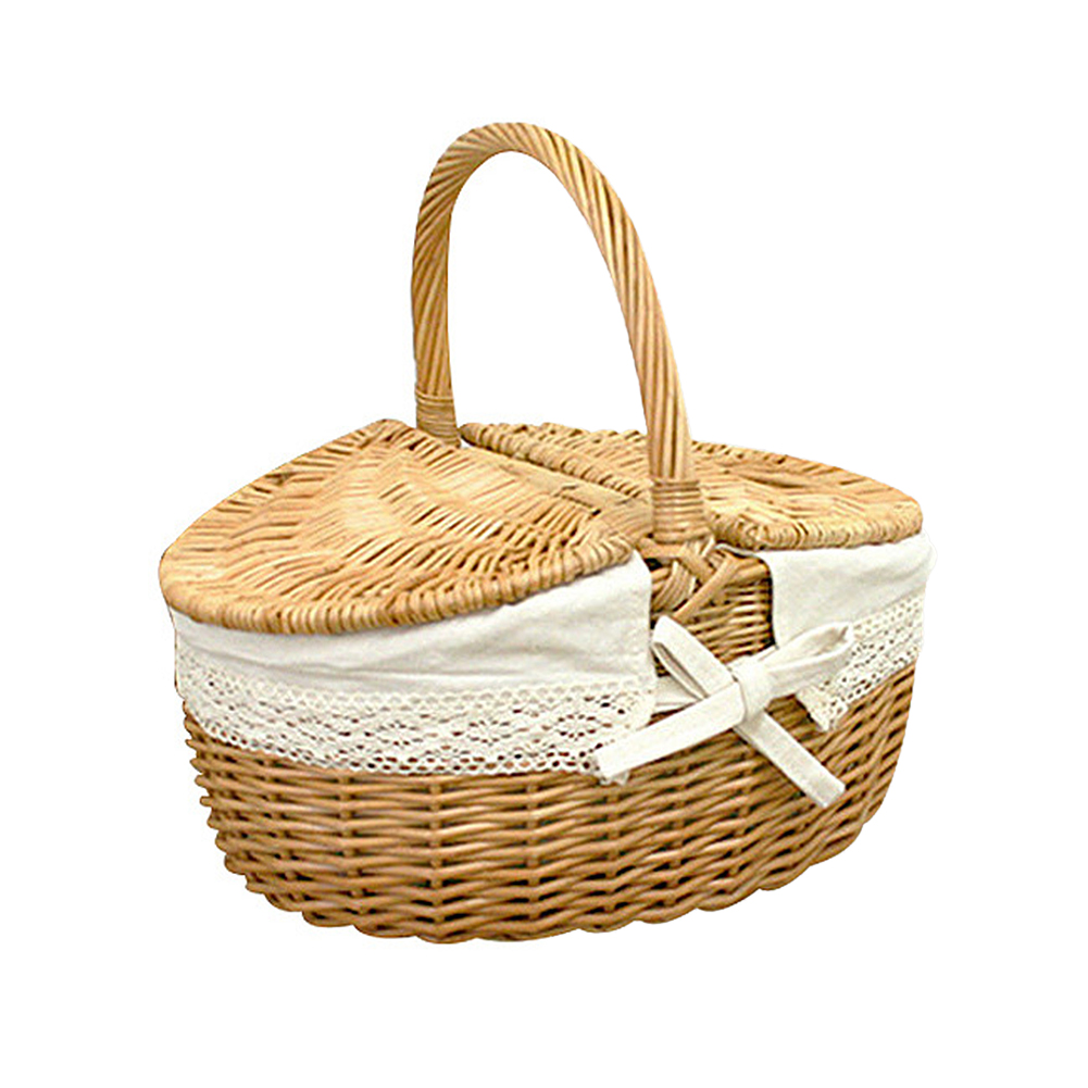 Wicker Picnic Basket Hamper Shopping Bag with Lid Handle Liner for Outdoor Camping Picnic Carrying Food Environmentally Friendly image