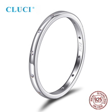 цена на CLUCI Simple 925 Sterling Silver Round Women Wedding Ring Jewelry for Engagement Classic Valentine Gift Zircon Rings