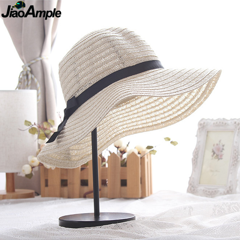 2020 New Korean Women Summer Sun Hats Sea Beach Travel Simple Hand Weave Straw Bow-knot Cap Women Graceful Casual Vacation Caps