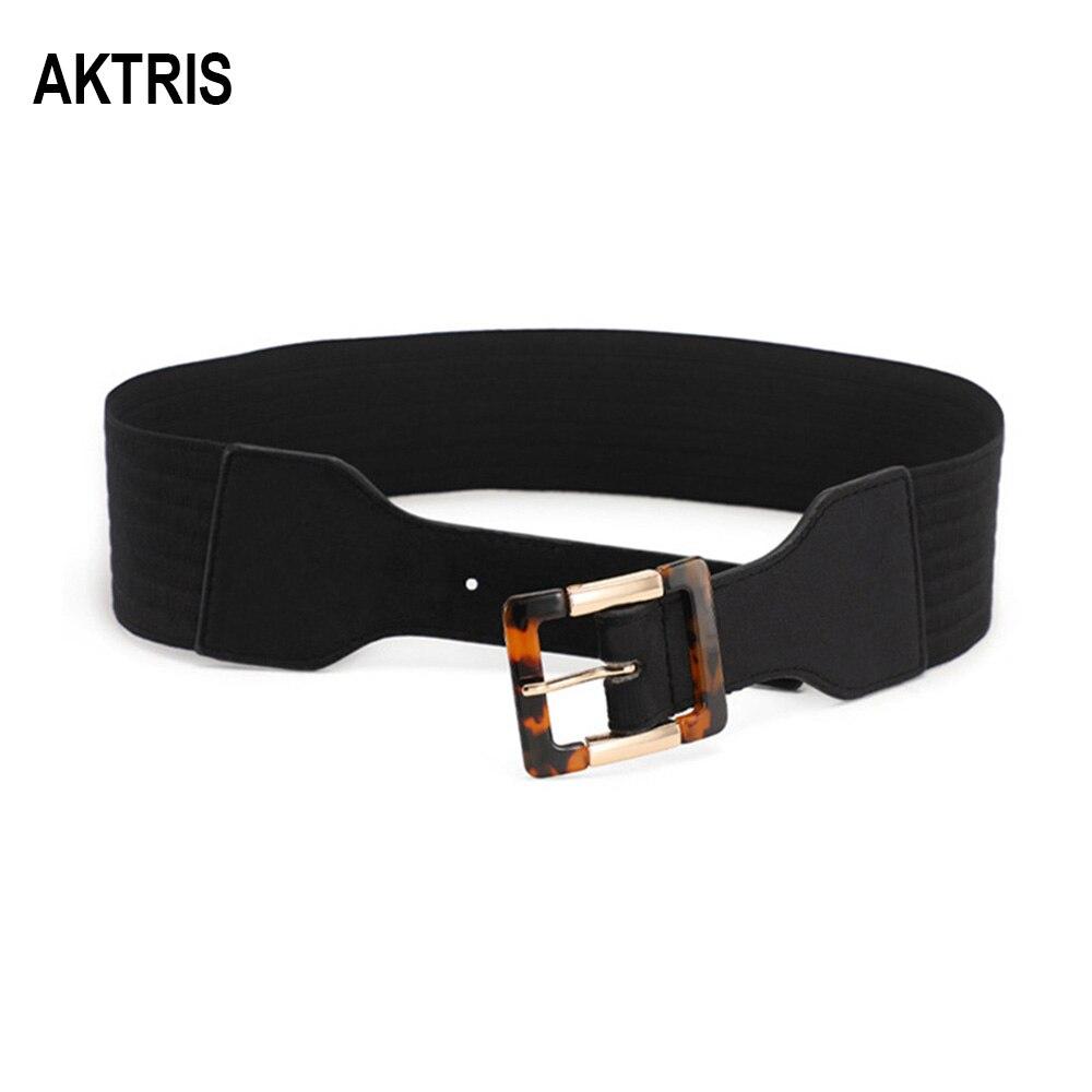 AKTRIS Fashion Quality PU Leather Black Elastic Cummerbunds Female Overcoat Wide Waist Down Jackets Belt For Women 2020 AK018