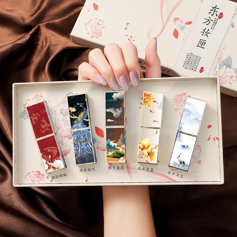 Chinese Vintage Style Carved Lipstick Gift Box Set Matte Velvet Lasting Moisturizing Lip Stick Makeup Cosmetic Christmas Present