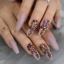 Балерина на заказ, прессованные ногти, матовые, кремовые, розовые, золотые, розовые, хрустальные украшения, накладные ногти, удлиненные Типсы гроба