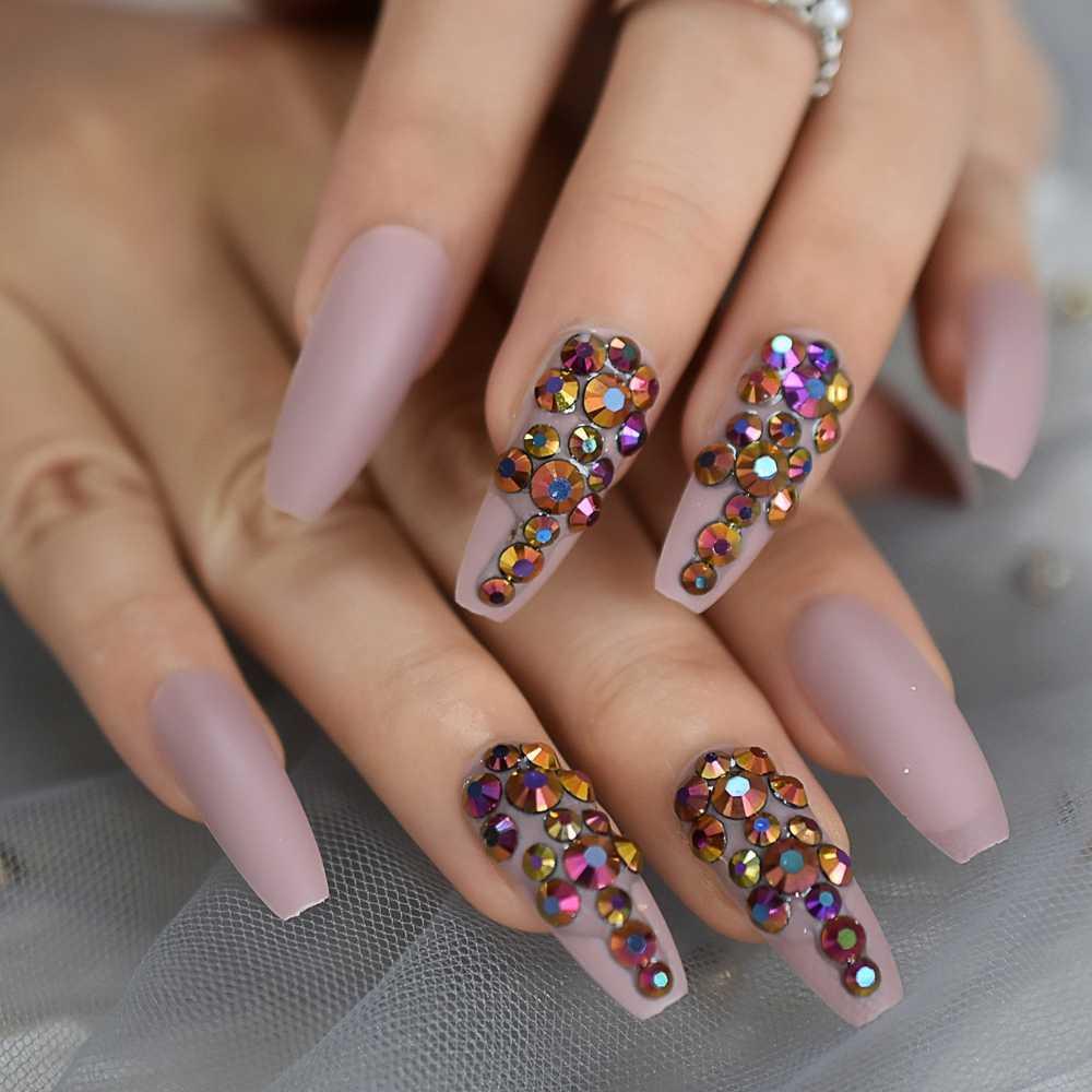Ballerina Customize Press On Nails Matte Cream Pink Gold Rose Crystal Decoration False Nails Extra Long Coffin Tips Aliexpress